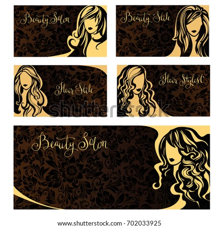 Vector Vintage Collection Business Cards Beauty Stock Vector