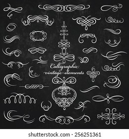 Vector vintage collection: Calligraphic elements on a chalkboard background