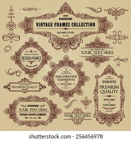 Vector vintage collection: frames, labels, emblems, ornamental and calligraphic design elements for page decoration on a old paper background