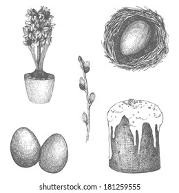 Vector vintage collection of hand drawn Easter illustrations isolated on white