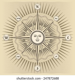Vector vintage compass rose with the sun in the center