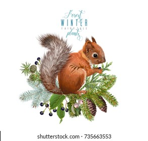 Vector vintage composition with winter forest branches and squirrel. Winter design element for greeting card, Christmas party invitation, holiday sales. Can be used for poster, web page, packaging