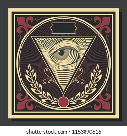 Vector Vintage Cover Background Eye in a Triangle