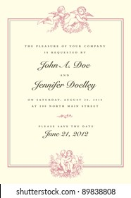 Vector Vintage Cupid Wedding Invitation. All pieces are separate, and easy to edit.