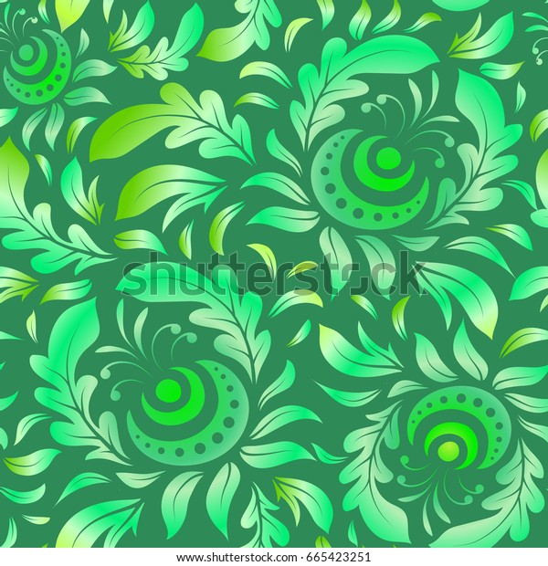 Vector vintage damask ornament. Seamless tiling pattern in green colors.