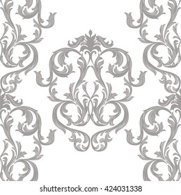Vector Vintage Damask Pattern ornament Royal style. Ornate floral acanthus element for fabric, textile, design, wedding invitation, cards, wallpaper. Gray and white color