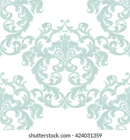 Vector Vintage Damask Pattern ornament Royal style. Ornate floral acanthus element for fabric, textile, design, wedding invitation, cards, wallpaper. Opal blue color