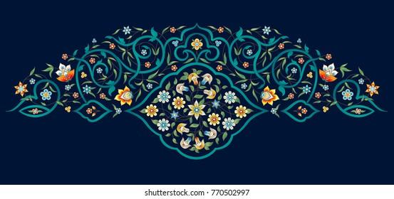 Vector vintage decor; ornate floral vignette on dark backdrop for design template. Eastern style element. Premium floral decoration. Ornamental illustration for invitation, greeting cards, background.