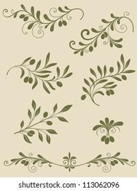 Vector vintage Decorative olive branch