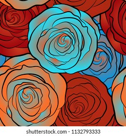 Vector vintage design. Abstract rose background in orange, blue and red colors. Floral illustration. Bouquet of retro plants. Roses seamless pattern with flowers in Victorian style.