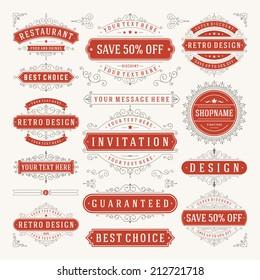 Vector vintage design elements. Premium quality labels, badges, logotypes, insignias, ornaments decorations, stamps, frames, sale signs best choice set. Retro style typographic flourishes elements.