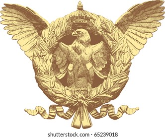 vector vintage drawing of the eagle with crest and crown