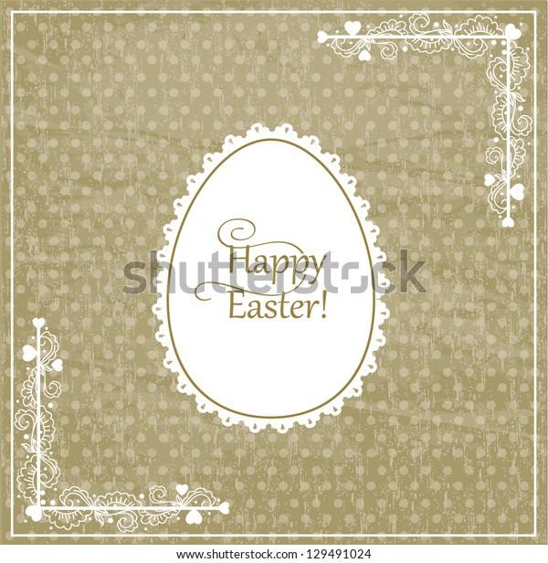 Vector vintage easter card with ornate paper egg
