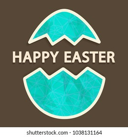 Vector vintage easter greeting card with cut out paper egg