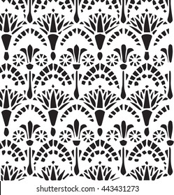 Vector vintage Egyptian ornament floral pattern. Vector egypt  style ornament background