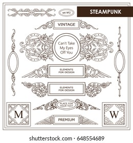 Vector vintage elements for design. Beautiful hand drawn boxes with place for text, perfect for dividers, headers, title. Rectangle and round box. Steampunk, abstract mechanical elements, sepia color