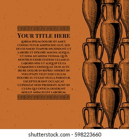 Vector vintage engraving template with ancient amphora and meander in black-figure pottery painting style. pattern stripe. Place for your text.