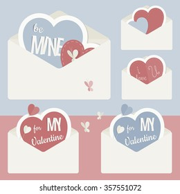 Vector vintage envelope with heart and shapes of paper, carried out as stickers. In Retro colors and modern flat design. Perfect for declarations of love and Valentine's Day