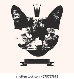 vector vintage fashion cat