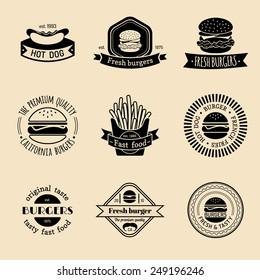 Vector vintage fast food logo set. Retro eating signs collection. Burger, hamburger, hot dog, frankfurter  emblems. Bistro, snack bar, restaurant, cafe, american diner icons.