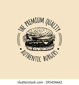 Vector vintage fast food logo. Retro hand drawn burger sign. Bistro icon. Eatery emblem with hipster sandwich for street restaurant, cafe, bar menu design.