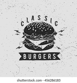 Vector vintage fast food logo. Retro hand drawn burger logotype. Hipster burger sign. Fast food icon. Fast food emblem with burger. Burger bar sign. Burger bistro logo.