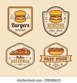 Vector vintage fast food logos set. Retro eating signs collection. Hand drawn burger, hipster sandwich, pizza, hot dog, frankfurter emblems. Bistro, snack bar, street restaurant icons.