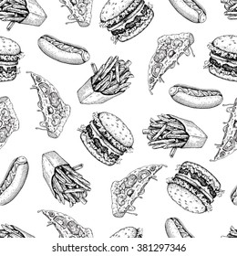 Vector vintage fast food seamless pattern. Hand drawn monochrome junk food illustration with pizza, burger, french fries and hot dog. Great for menu, poster or restaurant background.