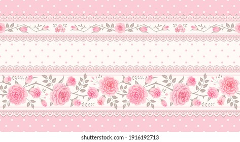 Vector vintage floral background, border. Seamless polka dot pattern with pink roses and laces. Shabby chic style