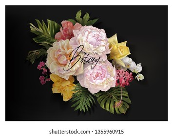 Vector vintage floral banner with garden roses, peonies and tropical leaves on black. Romantic design for natural cosmetics, perfume, women products. Can be used as greeting card or wedding invitation