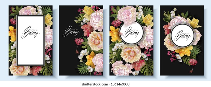 Vector vintage floral banner set with garden rose, peonies and tropical leaves on black. Romantic design for natural cosmetics, perfume, women products. Can be used as greeting card,wedding invitation