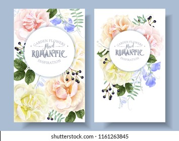 Vector vintage floral banners with garden roses and sweet pea flowers on white. Romantic design for natural cosmetics, perfume, women products. Can be used as greeting card or wedding invitation