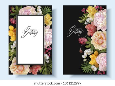 Vector vintage floral banners with garden roses, peonies and tropical leaves on black. Romantic design for natural cosmetics, perfume, women products. Can be used as greeting card, wedding invitation
