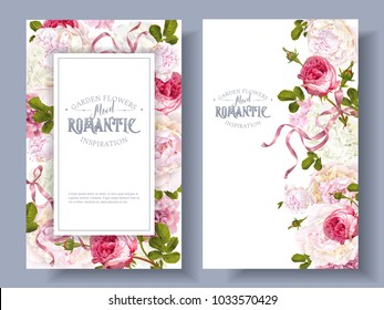 Vector vintage floral banners with peony, hydrangea, rose flowers and ribbon. Romantic design for natural cosmetics, perfume, women products. Can be used as greeting card. Best for wedding invitation
