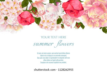 Vector vintage floral border with peony and roses flovers. flovers. Template for greeting cards, wedding decorations, sales.