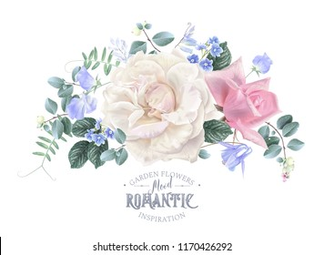 Vector vintage floral composition with garden roses and sweet pea flowers on blue. Romantic design for natural cosmetics, perfume, women products. Can be used as greeting card or wedding invitation