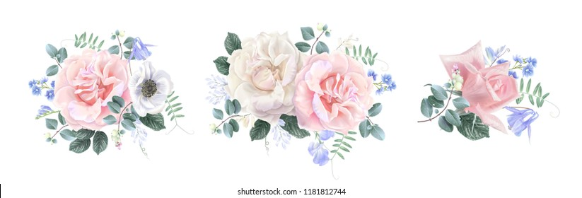 Vector vintage floral composition set with garden rose and sweet pea flower on white. Romantic design for natural cosmetics, perfume, women products. Can be used for greeting card, wedding invitation