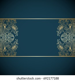 Vector vintage floral decorative background for design invitation card, booklet, print. Gold and blue.