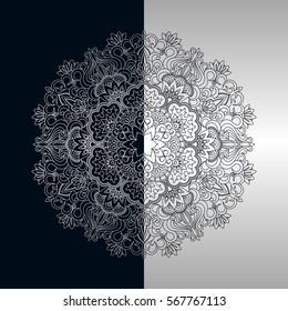 Vector vintage floral decorative ornamental element for design invitation card, booklet, print, embroidery.