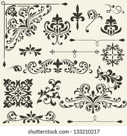 vector  vintage floral  design elements on gradient background, fully editable eps 8 file
