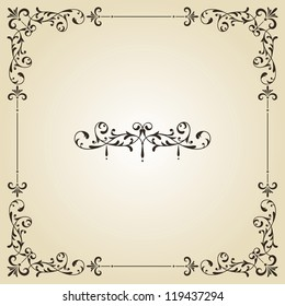 vector vintage floral frame and retro royal label on gradient background, fully editable eps 8 file