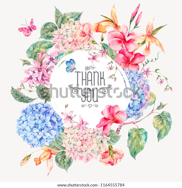 Vector Vintage Floral Greeting Card Hydrangeas Stock Vector ...