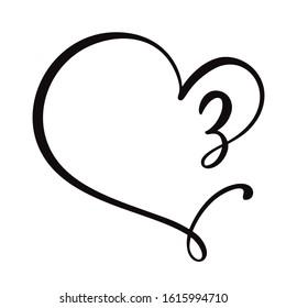 Vector Vintage floral monogram number three 3. Calligraphy element logo Valentine flourish frame. Hand drawn heart sign for page decoration and design illustration. Love wedding card or invitation.