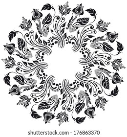 Vector vintage floral round pattern for print, embroidery.