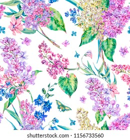 Vector vintage floral seamless pattern with pink lilac. Natural invitation, border, round frame, spring invitation
