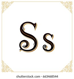Vector Vintage Font. Letter and monogram in the calligraphic style. Qualitative manual work for the logo. Alphabet in the Baroque style