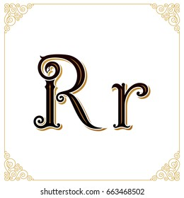 Vector Vintage Font. Letter R and monogram in the calligraphic style. Qualitative manual work for the logo. Alphabet in the Baroque style