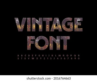Vector Vintage Font. Rusted Metallic Alphabet Letters and Numbers.