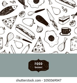 Vector vintage food illustration, hand drawn banner, card, flyer with black and white pattern. Cheese, pizza, egg, chicken, carrot, etc.