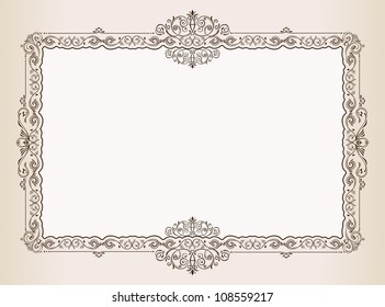 Vector Vintage frame. Decorated antique ornaments for royal documents